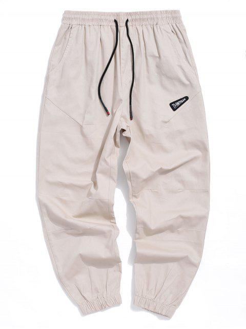 hot Letter Embroidered Casual Jogger Pants - KHAKI M Mobile