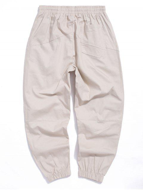 shop Letter Embroidered Casual Jogger Pants - KHAKI 2XL Mobile