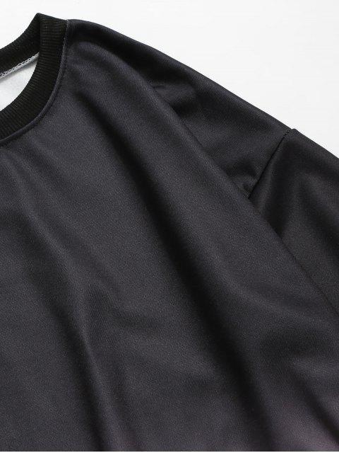 Ombre的打印圓領運動衫 - 黑色 2XL Mobile
