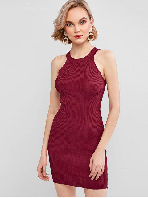 online Crew Neck Knit Bodycon Dress - RED WINE ONE SIZE Mobile