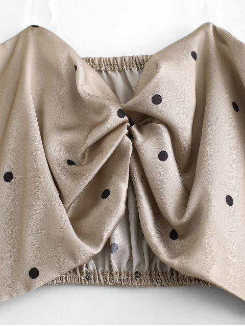 trendy Polka Dot Heart Ring Crop Blouse - CHAMPAGNE GOLD M Mobile