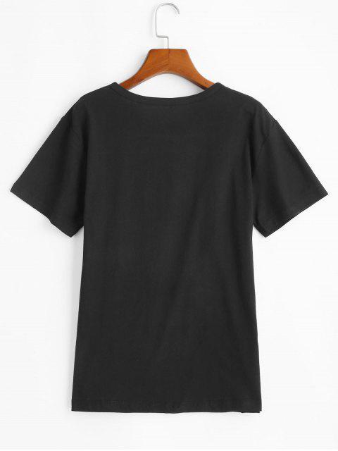 buy Short Sleeve Blessed Heart Graphic Basic Tee - BLACK XL Mobile