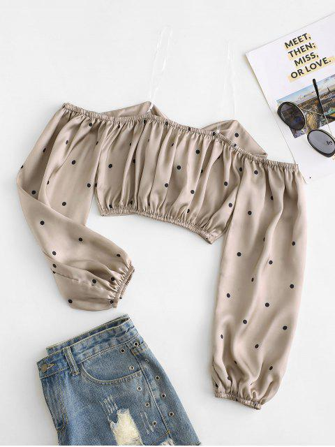 shops Polka Dot Heart Ring Crop Blouse - CHAMPAGNE GOLD S Mobile