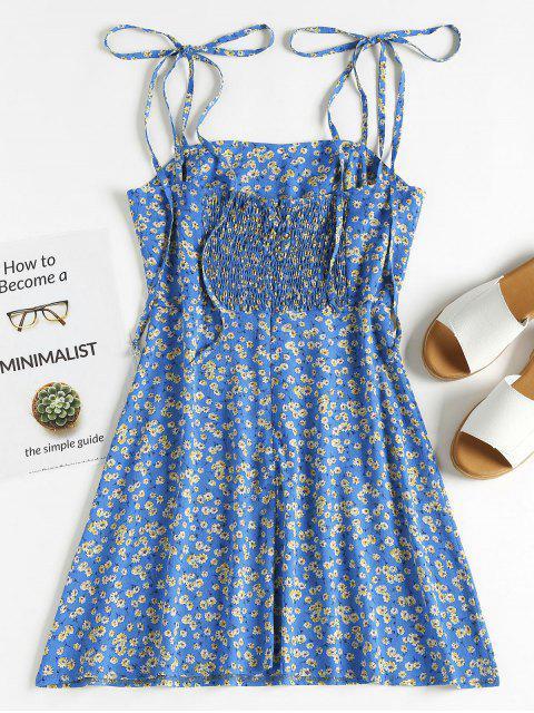 ZAFUL Gebundendes Blumen Schür Mini Sommerkleid - Blaubeere M Mobile