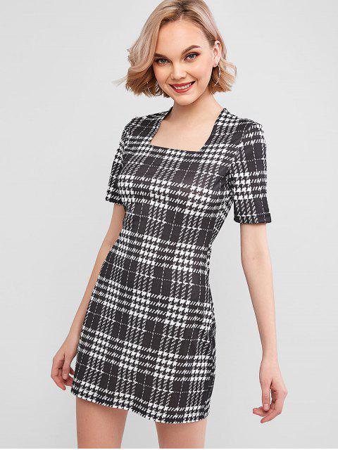 affordable ZAFUL Plaid Square Neck Mini Dress - MULTI-A S Mobile