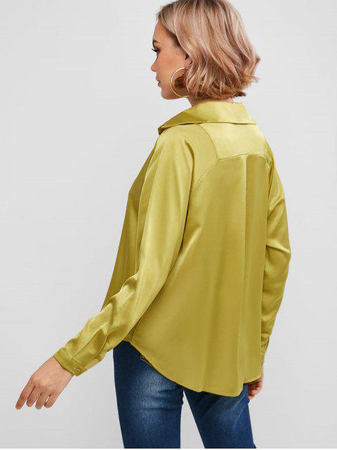 hot Silky Raglan Sleeve Blouse - YELLOW L Mobile