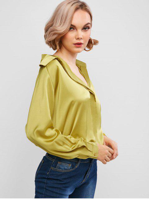 fashion Silky Raglan Sleeve Blouse - YELLOW XL Mobile