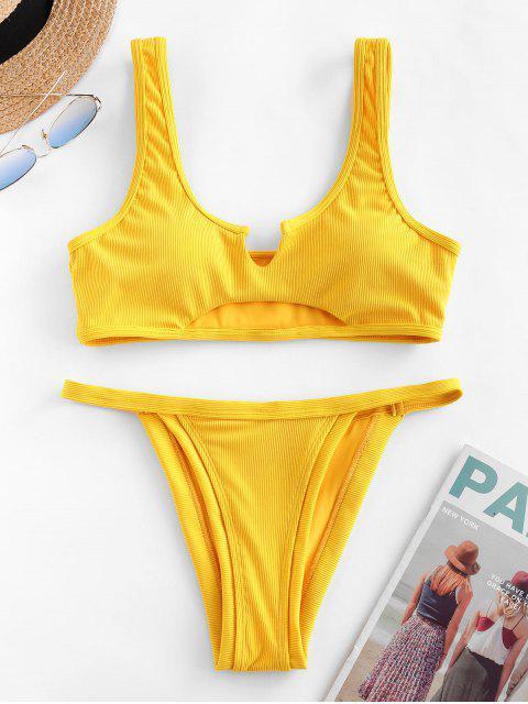 ZAFUL Bikini Acanalado Recortado con Cuello en V - Mostaza L Mobile