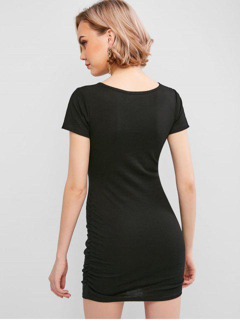Vestido Ceñido Monocromático Escotado - Negro Talla única Mobile