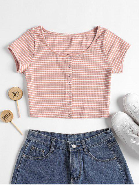 lady Striped Ribbed Crop Top - PINK M Mobile