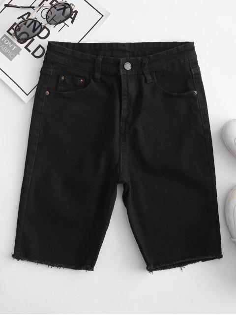 Shorts de Denim Desgarrador de Bolsillo - Negro S Mobile