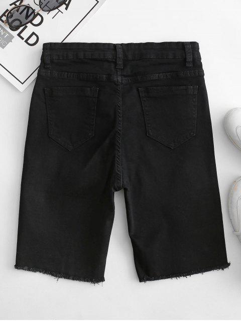 affordable Y2K Pocket Skinny Frayed Denim Shorts - BLACK L Mobile
