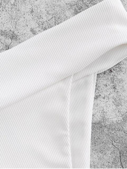 shop ZAFUL High Cut Wide Waistband Ribbed Bikini Bottom - WHITE S Mobile