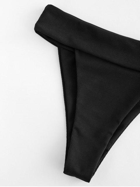 affordable ZAFUL High Cut Wide Waistband Ribbed Bikini Bottom - BLACK S Mobile