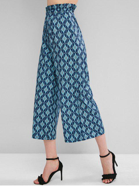 trendy Geo Print Palazzo Pants - BLUE ONE SIZE Mobile