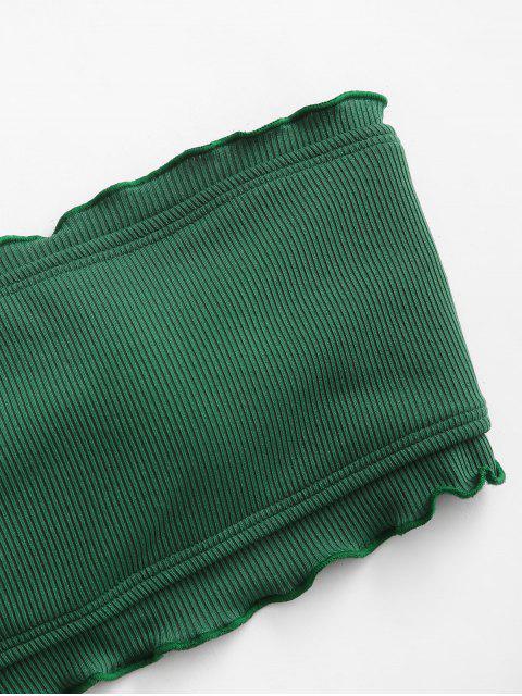 Bikini a Fascia a Costine con Taglio Ondulato di ZAFUL - Verde Foresta Medio S Mobile