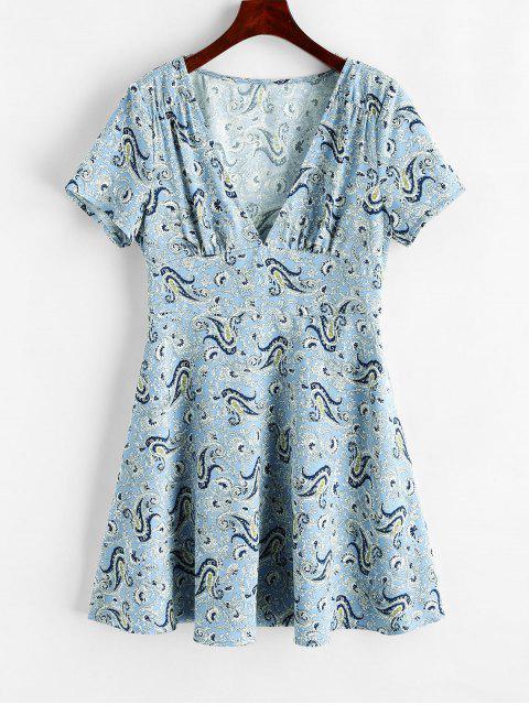 ZAFUL Mini Robe Plongeante Cachemire - Bleu Poudre L Mobile