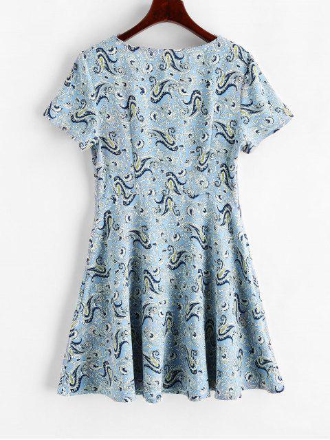 ZAFUL Paisley Mini Vestido Hundido - Azul Pálido M Mobile