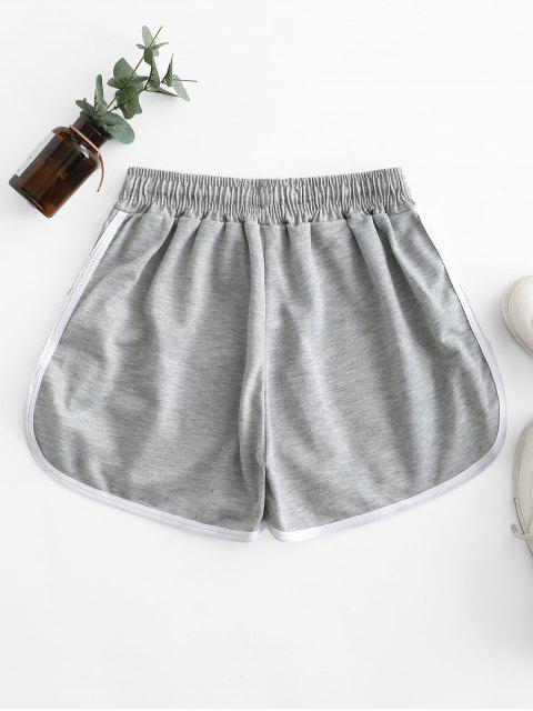 women Drawstring Waist Piping Dolphin Shorts - GRAY ONE SIZE Mobile