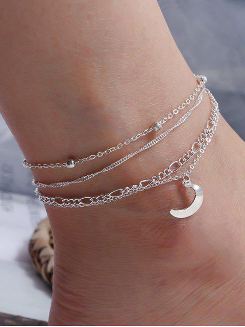 affordable 4 Piece Moon Charm Chain Anklets - SILVER  Mobile