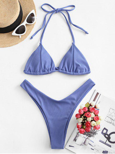outfit ZAFUL Ribbed High Cut Halter Tie Bikini Swimsuit - BLUE S Mobile