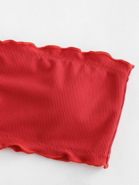 ZAFUL Bandeau Bikini Badebekleidung mit Geripptem Salatbesatz - Rot S Mobile