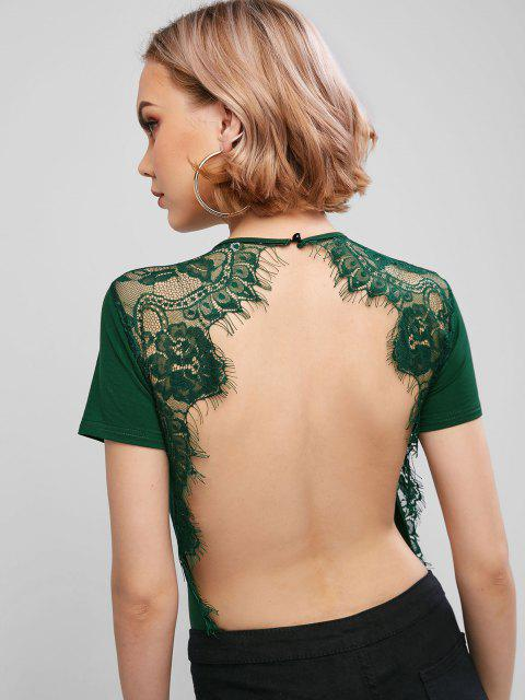 shop ZAFUL Lace Panel Backless High Cut Bodysuit - MEDIUM SEA GREEN XL Mobile