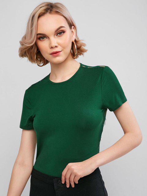 shops ZAFUL Lace Panel Backless High Cut Bodysuit - MEDIUM SEA GREEN L Mobile