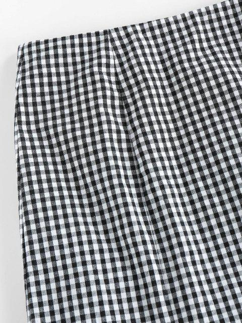 affordable ZAFUL Gingham Slit Zip Fly Skirt - BLACK M Mobile
