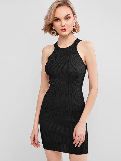 Crew Neck Knit Bodycon Dress - Black