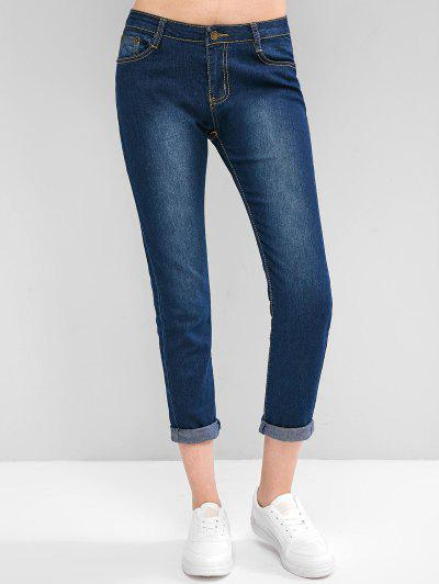 Bleach Wash Mid Rise Skinny Jeans - Blue S