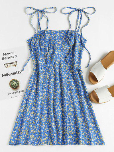 ZAFUL Floral Tie Strap Apron Mini Sundress - Blueberry Blue M