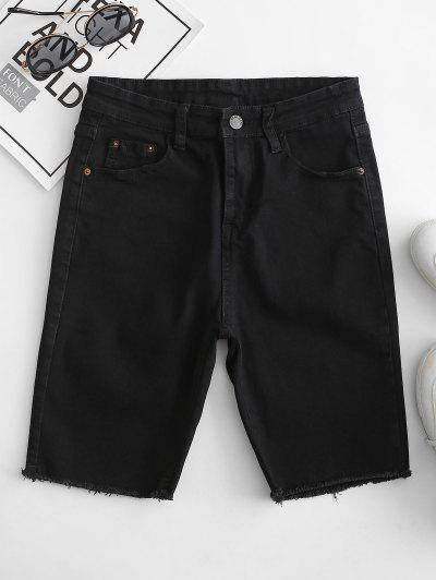 Y2K Pocket Skinny Frayed Denim Shorts - Black L