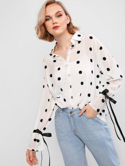 Camisa De Gasa De Lunares Con Cinturon - Blanco L