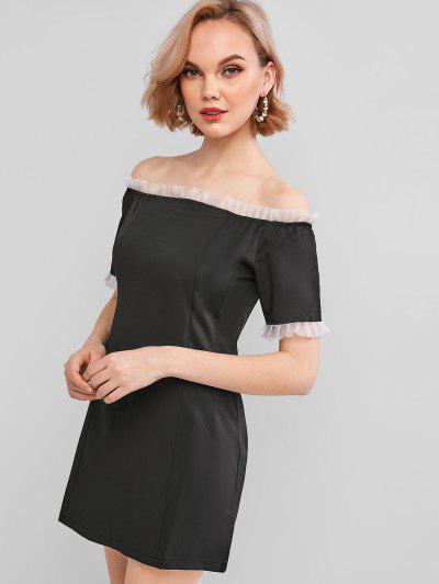 Mesh Frilled Trim Off The Shoulder Dress - Black