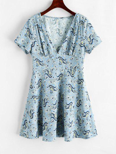 ZAFUL Paisley Plunging Mini Dress - Powder Blue L