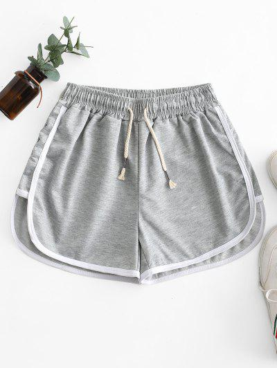Drawstring Waist Piping Dolphin Shorts - Gray