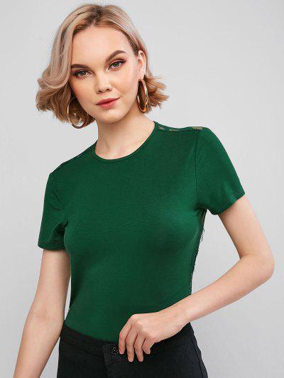 ZAFUL Lace Panel Backless High Cut Bodysuit - Medium Sea Green S