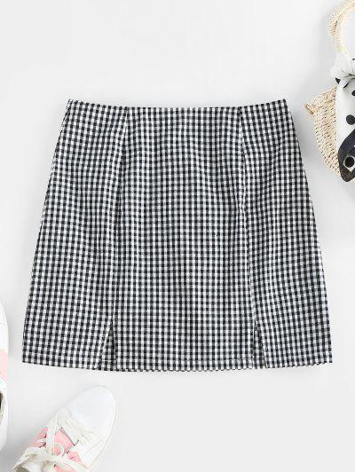 ZAFUL Gingham Slit Zip Fly Skirt - Black S