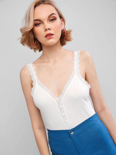 ZAFUL Ribbed Lace Insert Button Embellished Tank Top - Milk White S