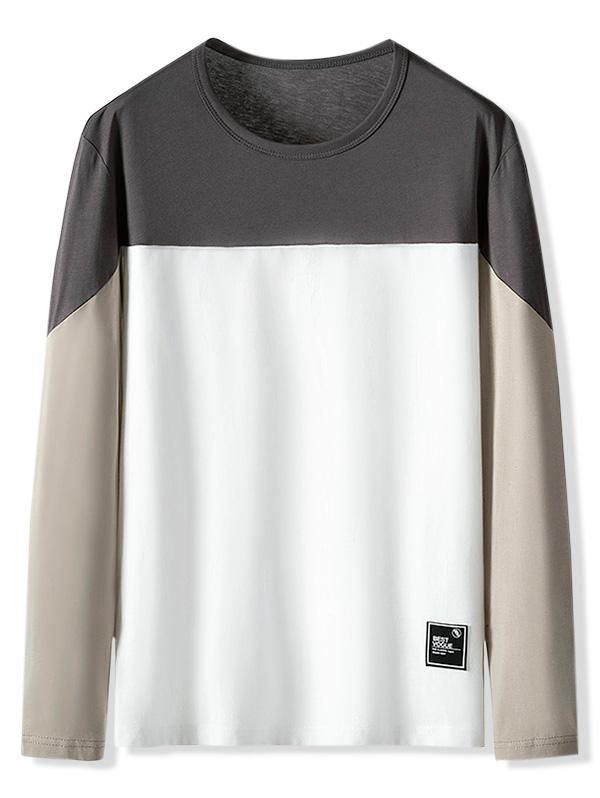Color Blocking Letter Pattern Casual T-shirt фото