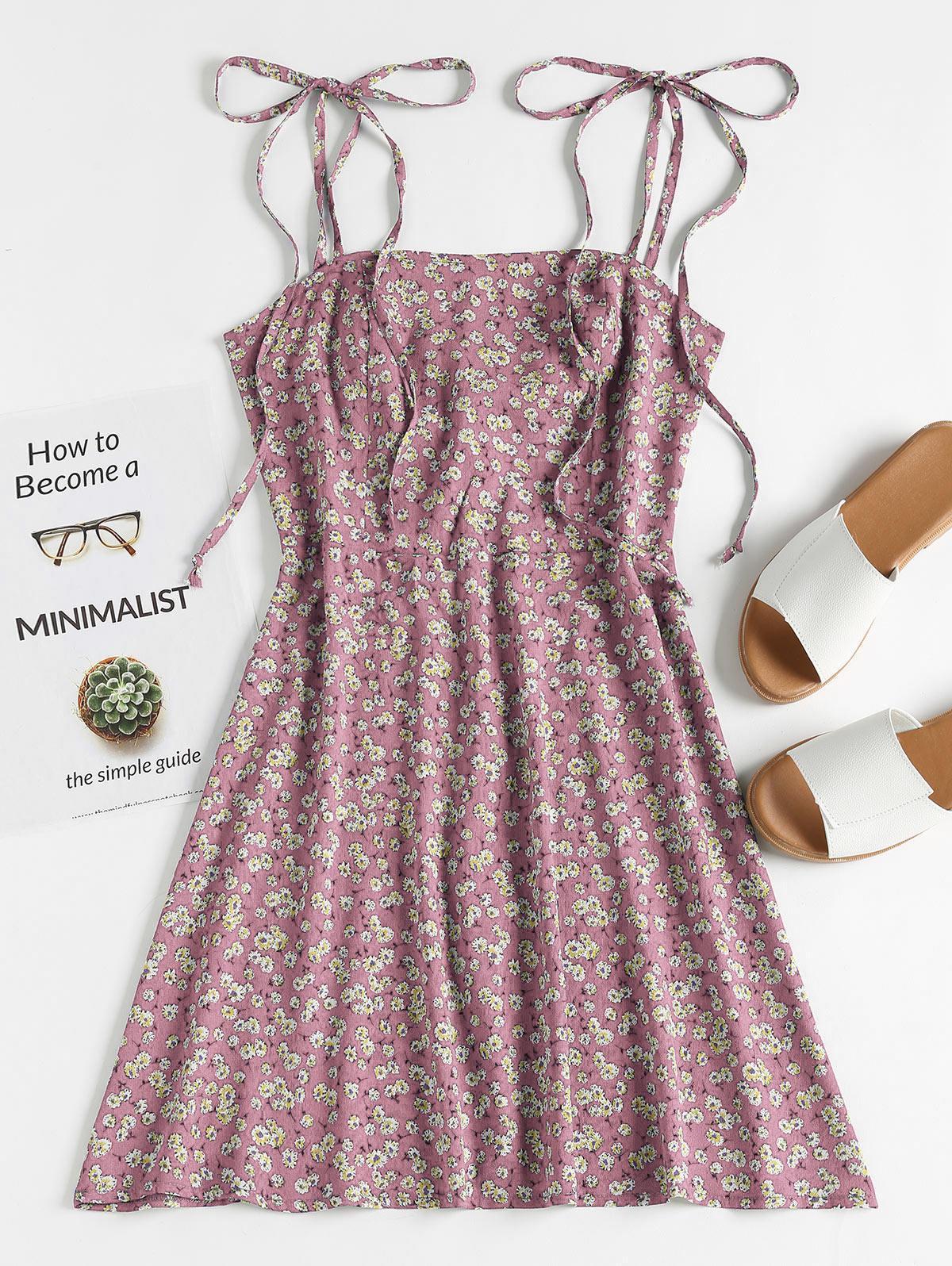 Mini-Robe à Bretelle Nouée Fleurie - ZAFUL - Modalova
