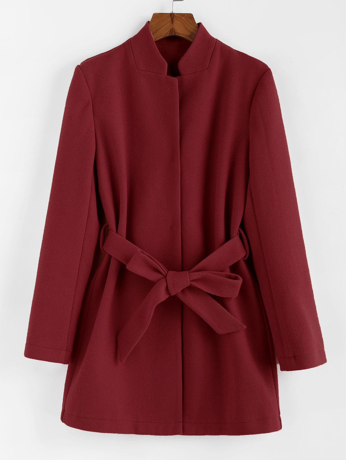 ZAFUL Stand-up Collar Belted Tunic Coat