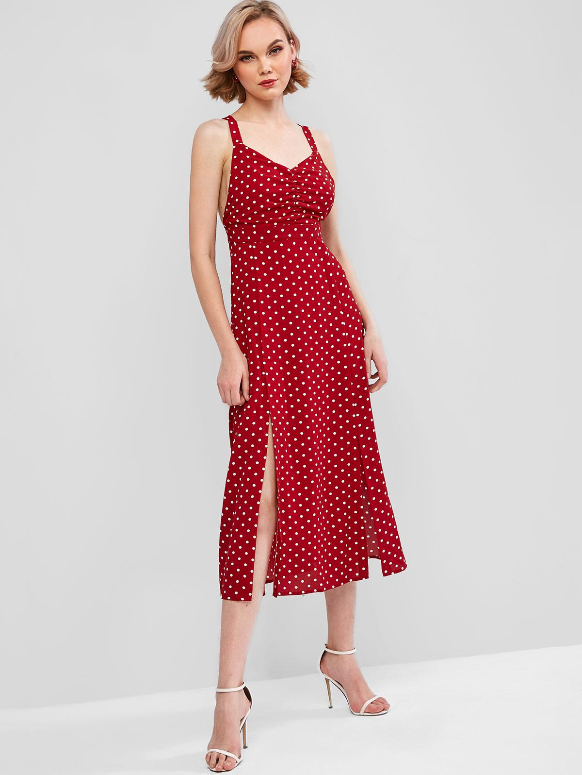 Polka Dot Ruched Slits Sleeveless Dress