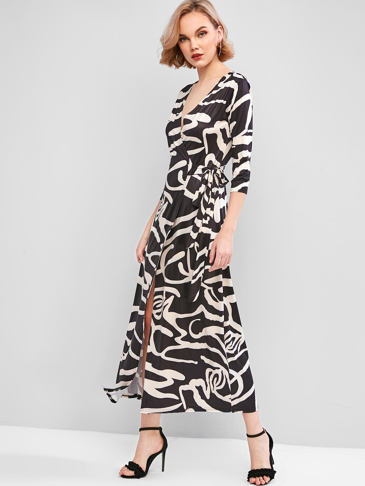 Zebra Print Long Wrap Dress