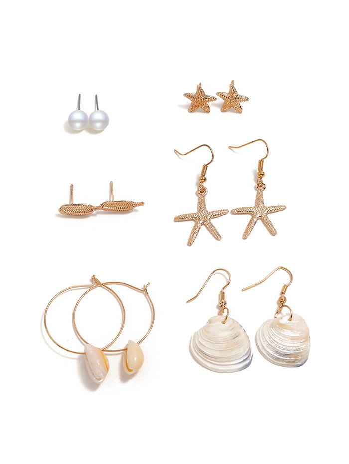 6 Piece Conch Shell Starfish Drop Stud Earrings Set