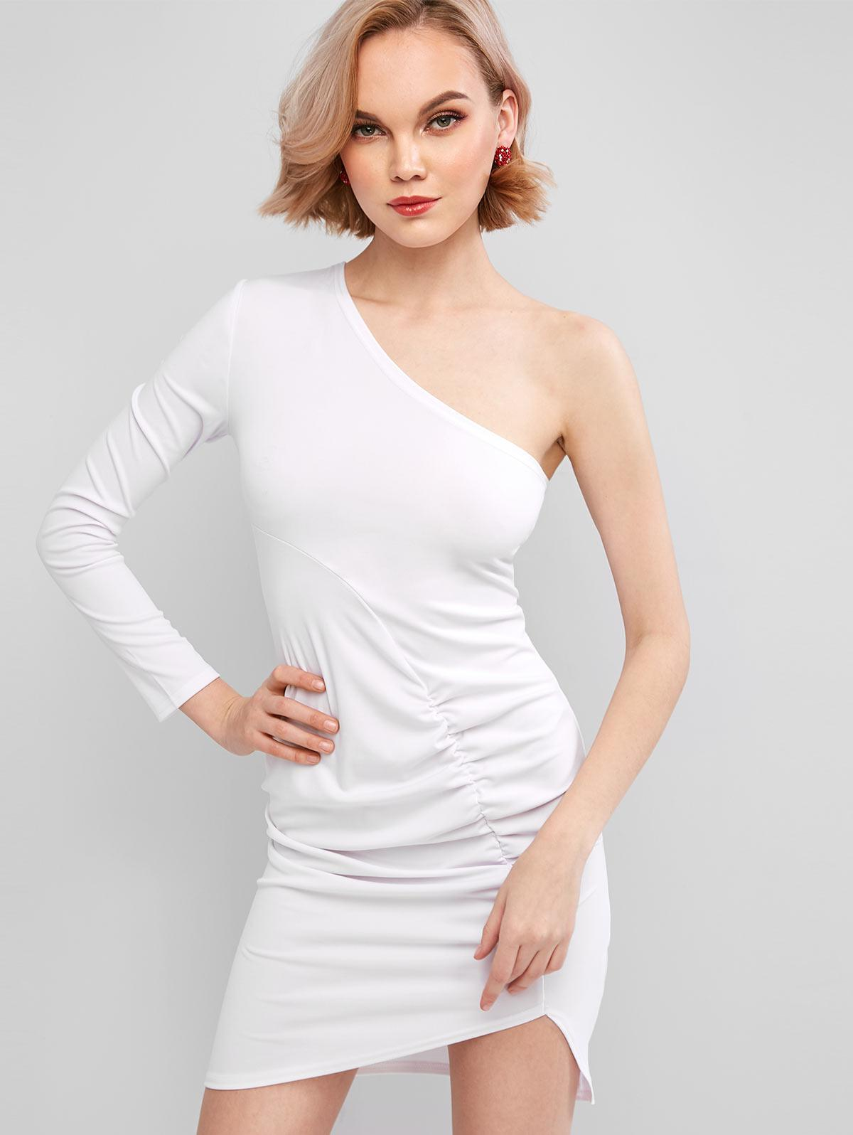 One Shoulder Ruched Bodycon Mini Dress