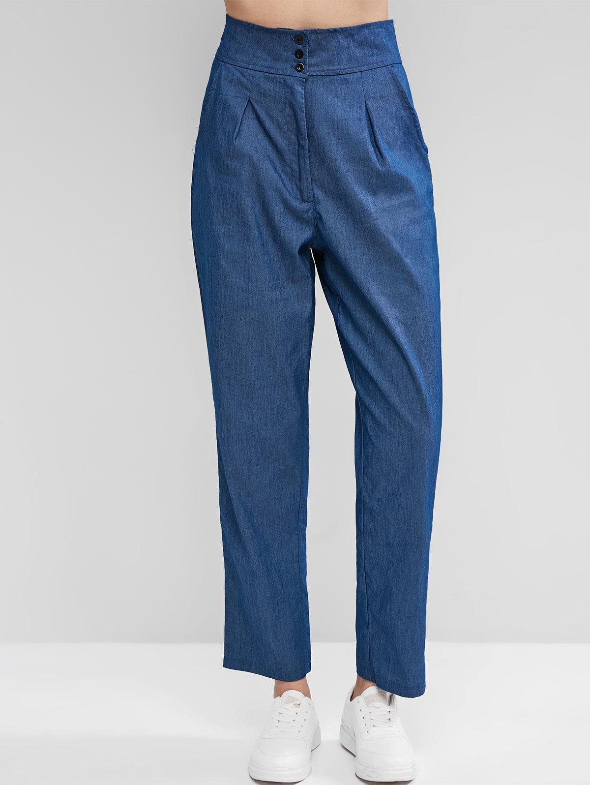 High Waist Zipper Fly Chambray Pants