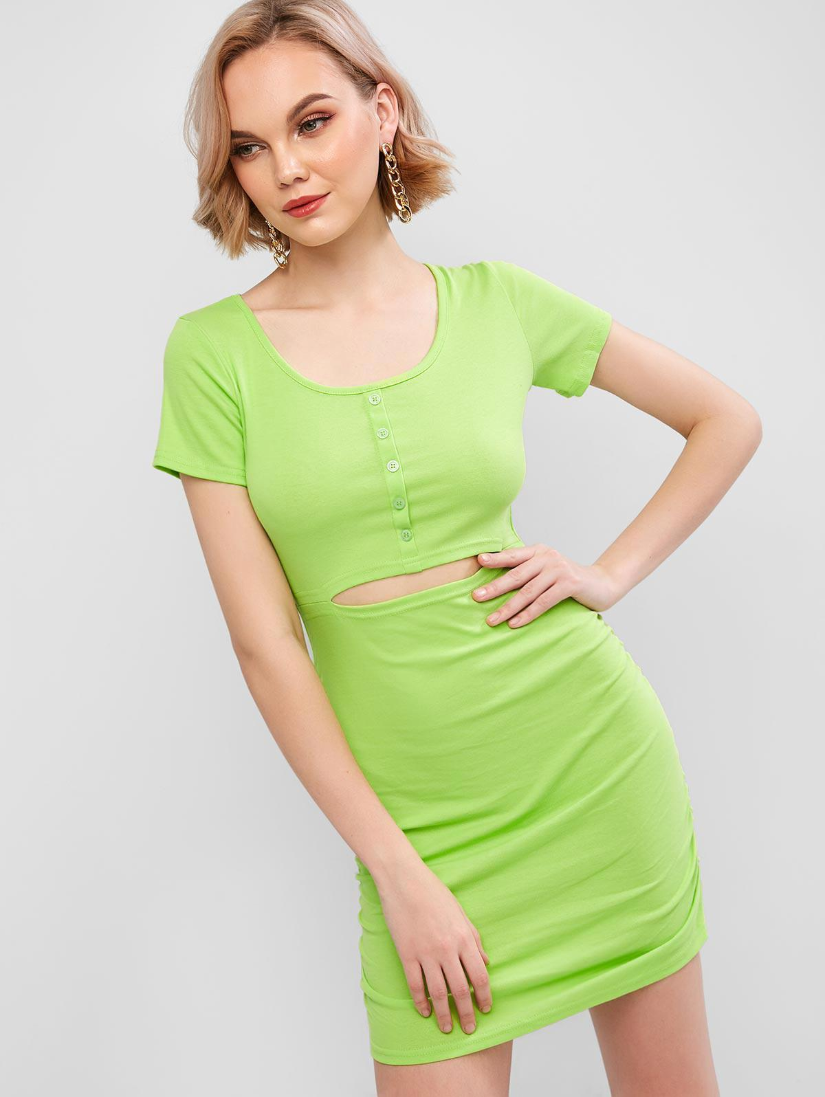 Cut Out Ruched Solid Bodycon Dress