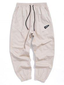 Letter Embroidered Drawstring Jogger Pants